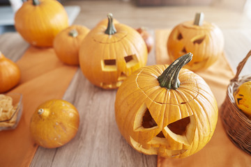 Halloween pumkins on the table