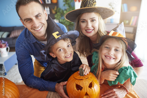 Portrait of happy and spooky family