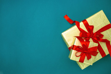 The gifts on blue background