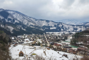 Village antique on winter season ,miyama, kayabuki no sato