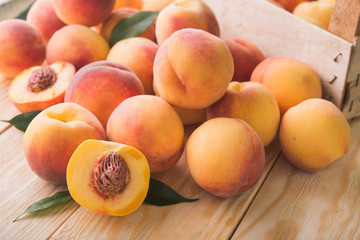 peach on wood background