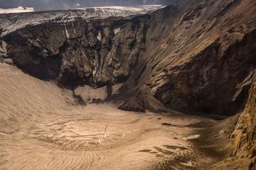 Frozen crater lake inside Mutnovsky Volcano, Kamchatka, Russia
