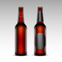 Set of Brown Bottles Dark Red Beer with without labels