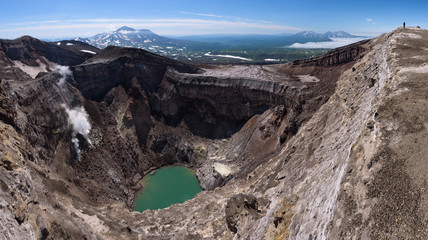 Gorely Volcano's second crater lake and it's impressive glacier above, Kamchatka, Russia
