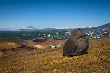 Giant rock on the rocky slopes of Mutnovsky volcano, Kamchatka, Russia