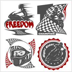 Motorcycle racers emblems. Vector set in the monochrome style
