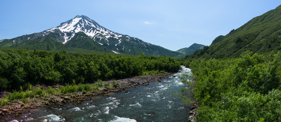 Panoramic view on a river at the foot of Mutnovsky Volcano, Kamchatka, Russia