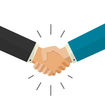 Shaking hands handshake business vector illustration isolated on white background, symbol of success deal, happy partnership, greeting shake, handshaking agreement flat sign design