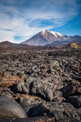 Thick lava streams covering the slopes of Tolbachik Volcano after the eruption of 2013, Kamchatka, Russia