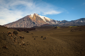 Sand path through the desert to the top of Tolbachik Volcano, Kamchatka, Russia