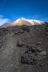 Rocky path leading us to the top of Tolbachik Volcano, Kamchatka, Russia