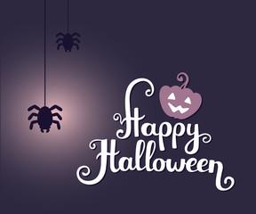 Vector halloween illustration with  text happy halloween, glowin