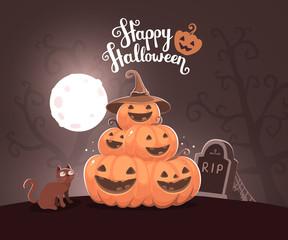 Vector halloween illustration of pile of decorative orange pumpk
