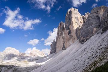 Famous rock formation Tre Cime, Italian Dolomites. UNESCO World Heritage Site.
