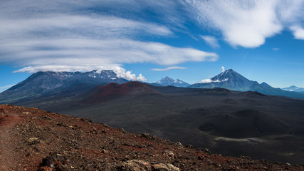 View on the Klyuchevskaya group from the area near Tolbachik Volcano, Kamchatka, Russia