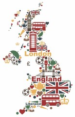 The symbols of the UK in the shape of a map