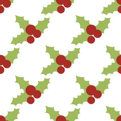 Vector seamless pattern with holly berries