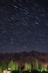 Star field over mountain at Leh city.