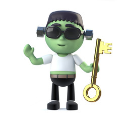 3d Child Frankenstein holding a gold key
