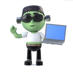 3d Child Frankenstein monster holding a laptop pc device