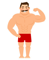 Beautiful cartoon muscular man with mustache, athletic male body vector illustration