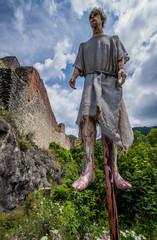 Impalement scene in front of Ruined Poenari Castle on Mount Cetatea in Romania