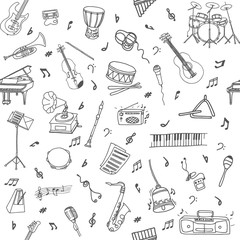 Hand-drawn doodle seamless pattern with different musical instruments and objects. Line art repeated background.