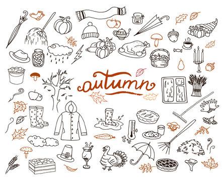 Hand-drawn autumn doodle collection. Line art seasonal set of illustrations.