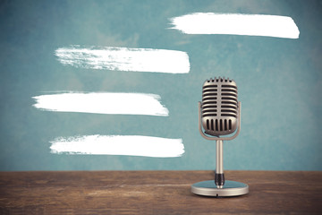 Retro style microphone with blank text field