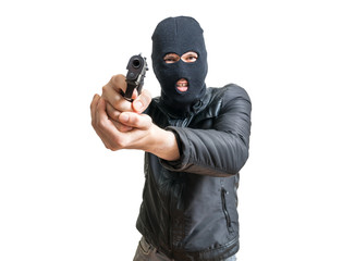 Burglar or robber aiming with pistol. Isolated on white background.