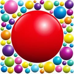 Red ball surrounded by many colorful balls - isolated vector illustration on white background.
