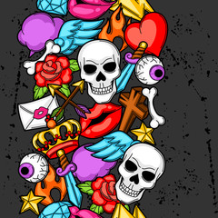 Seamless pattern with retro tattoo symbols. Cartoon old school illustration