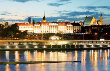 Royal Castle over the Vistula river in Warsaw, Poland