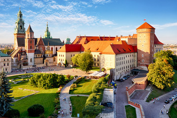 Deurstickers Krakau Krakow - Wawel castle at day