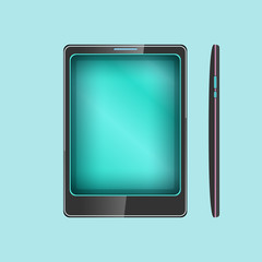 Phone, Smartphone Isolated on Blue Background, Front and Side Views, Tablet Computer, Vector Illustration