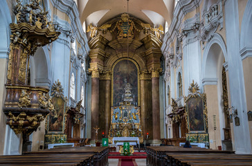 Interior of Church of The Holy Trinity in Cluj-Napoca city in Romania
