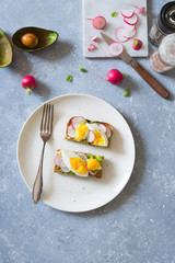 Avocado, radish and boiled egg toast. Overhead view, copy space.