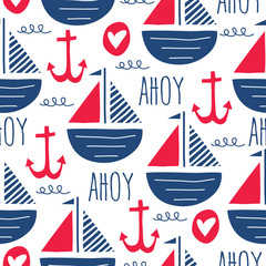 seamless sea pattern with sailing ships vector illustration