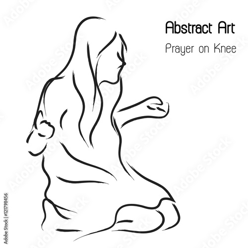 Abstract worshiper and prayer woman on knee in line art