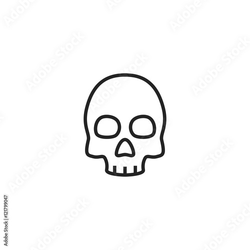 """""""Skull Flat Outline Simple Icon, Sign or Logo Isolated on ..."""
