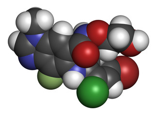 Selumetinib cancer drug molecule (MEK1 and MEK2 inhibitor). 3D rendering.