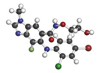 Selumetinib cancer drug molecule (MEK1 and MEK2 inhibitor). 3D rendering.