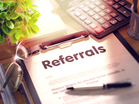 Clipboard with Referrals Concept. 3D.