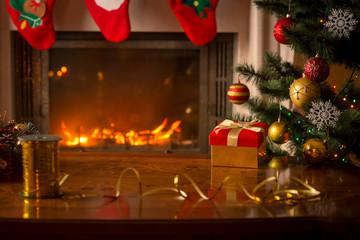 Christmas background with burning fireplace, Christmas tree, gif