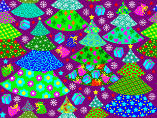 Seamless pattern with funny Christmas trees, vector cartoon image.