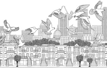 Birds over Montreal - black and white ink illustration of the city's skyline with a flock of birds