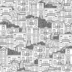 Seamless pattern of Montreal style houses with outdoor staircases
