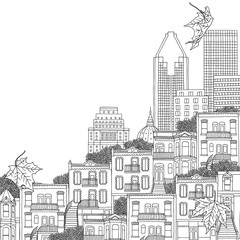 Montreal, Quebec / Canada - hand drawn black and white illustration
