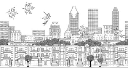 Montreal, Quebec / Canada - seamless banner of Montreal's skyline, hand drawn black and white illustration