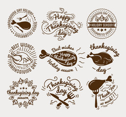 Set of labels design template to Thanksgiving Day. Black icons with turkey for banner and invitation. Vector tags, stickers  badges  symbols  fall holiday.
